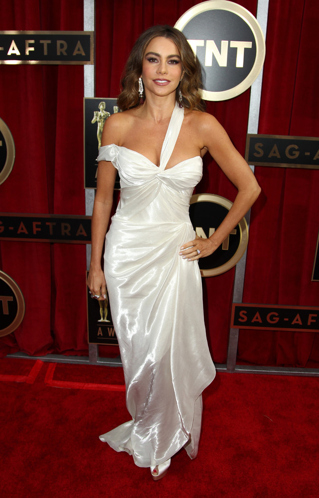 Colombian actress Sofia Vergara arrives at the 19th Annual Screen Actors Guild Awards at the Shrine Auditorium in Los Angeles