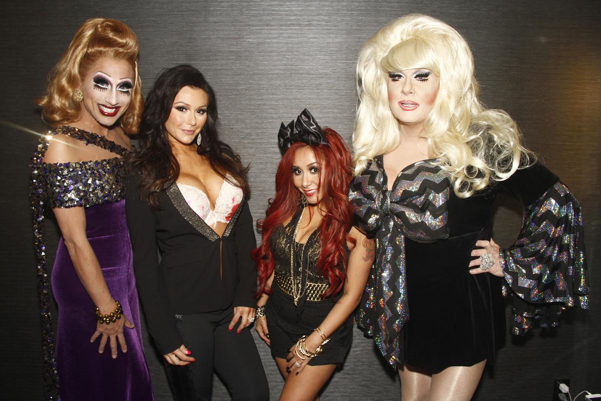 "Left to right: Bianca Del Rio, Jennifer ""JWoww"" Farley, Nicole ""Snooki"" Polizzi, Lady Bunny"