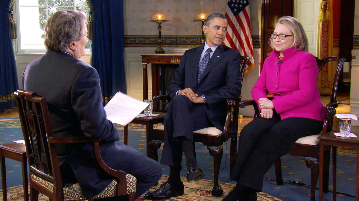 FILE - In this Jan. 25, 2013 file image taken from video and provided by CBS, President Barack Obama, center, and Secretary o