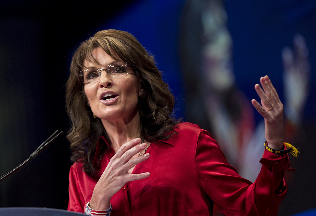 FILE - In this Saturday, Feb. 11, 2012 file photo, Sarah Palin, the GOP candidate for vice-president in 2008, and former Alas