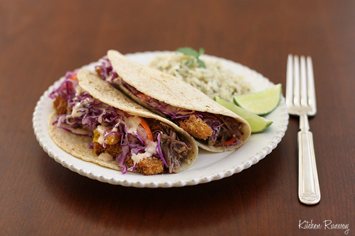 """<strong>Get the <a href=""""http://kitchenrunway.com/braised-oxtail-kabocha-tacos/"""">Braised Oxtail & Kabocha Tacos recipe</a> by"""