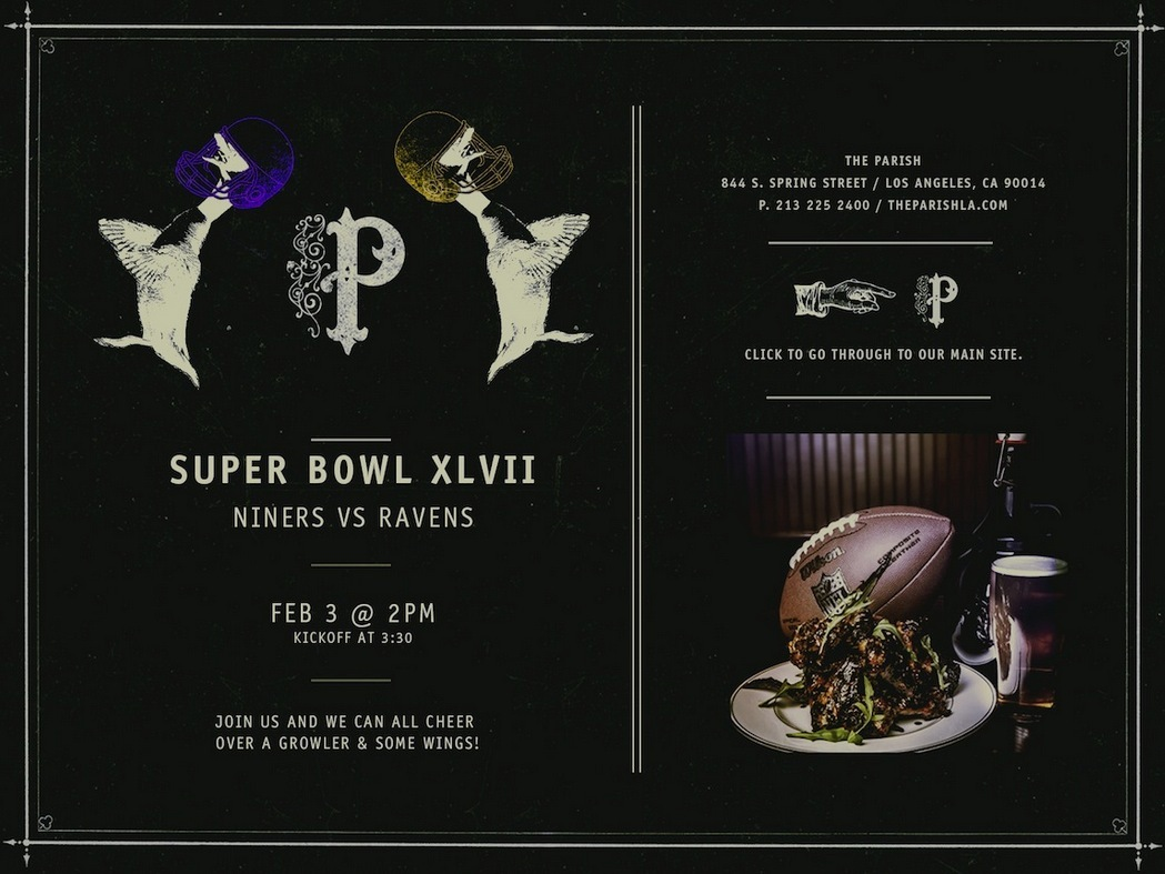 Starting at 3pm on Super Bowl Sunday, this cool foodie destination is where you can watch the game on the restaurant's 80-inc