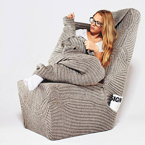 Polish designer Aga Brzostek invented this amazing blanket chair that is meant to make our winter days warm and cozy. <a href