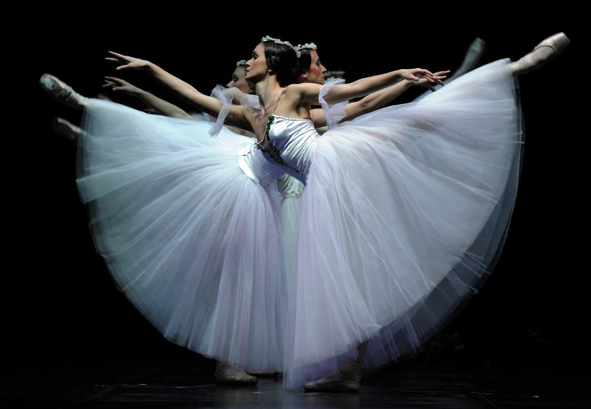Classical dancers of the Latvian National Ballet perform during a dress rehearsal of 'Giselle' at the Teatro de la Maestranza