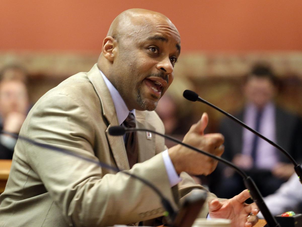 Denver Mayor Michael Hancock testifies in favor of the Civil Unions bill before the Senate Judiciary committee at the Capitol