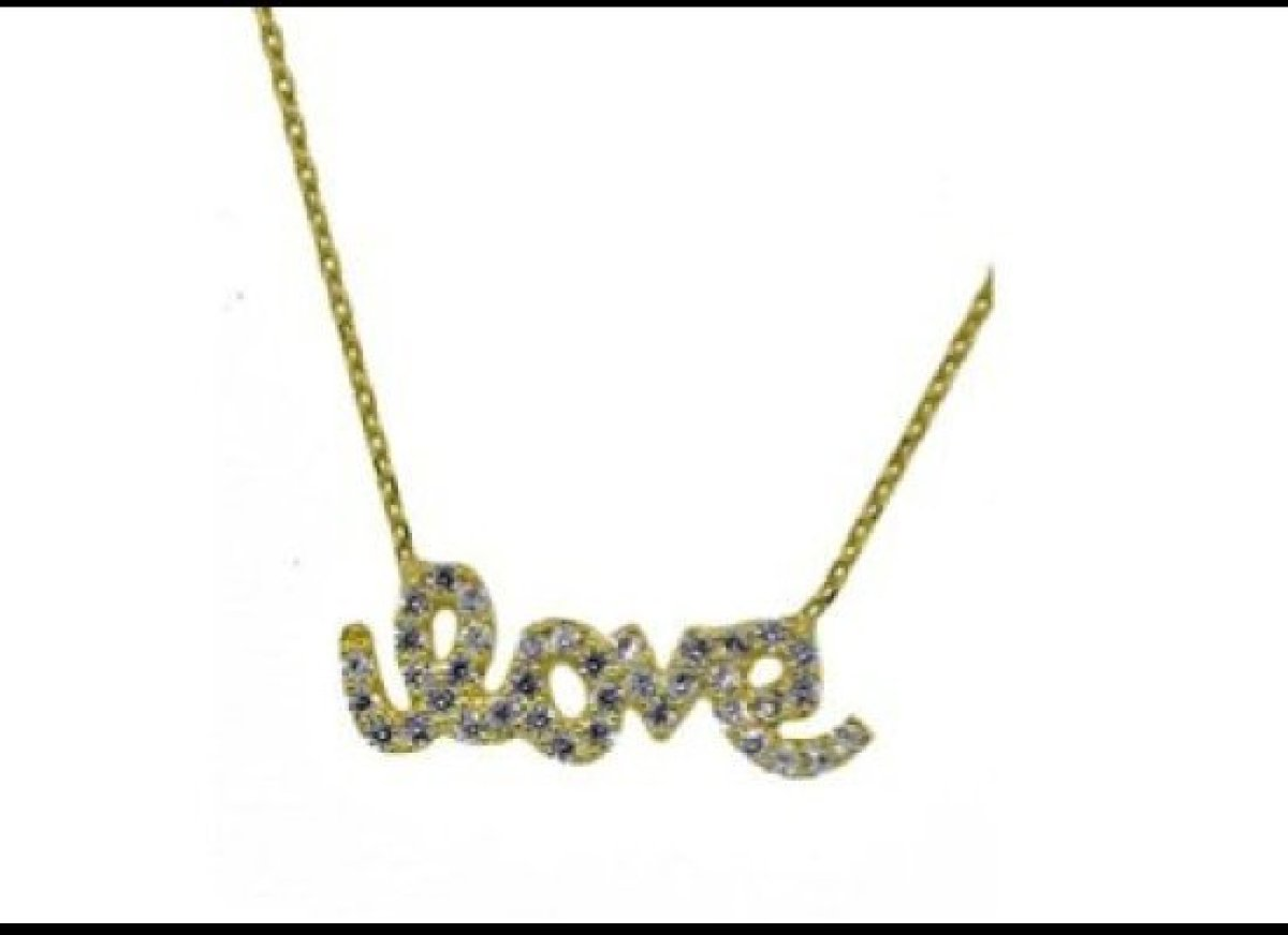 What better way to tell her you love her? Blee Inara's gold-plated Love Charm necklace is filled with Swarovski crystals and
