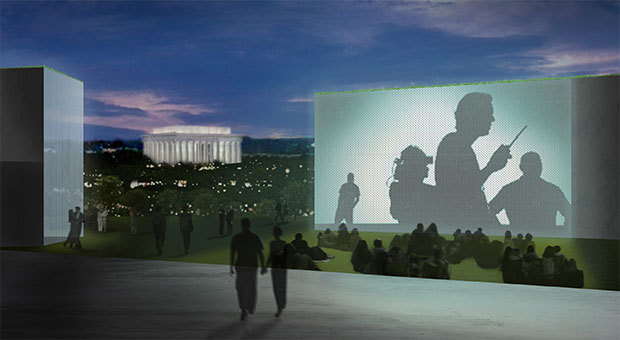 From the Kennedy Center site: View looking south from the Kennedy Center south plaza, showing the public enjoying a simulcast