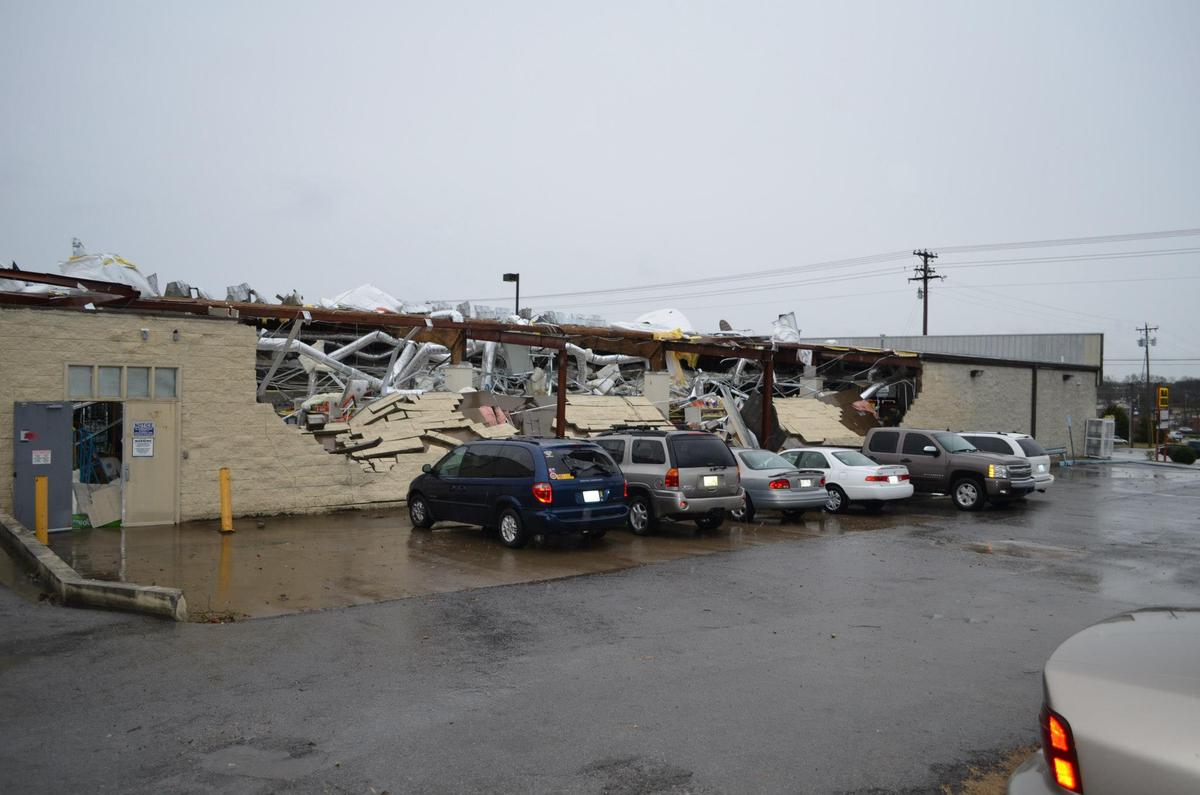 The wall and roof of this structure in Mount Juliet, Tenn., a small city outside Nashville, were severely damaged.