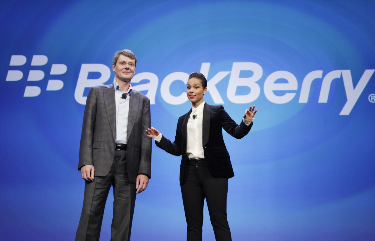At the BlackBerry 10 launch event, CEO Thorsten Heins introduced singer Alicia Keys as the company's new global creative dire