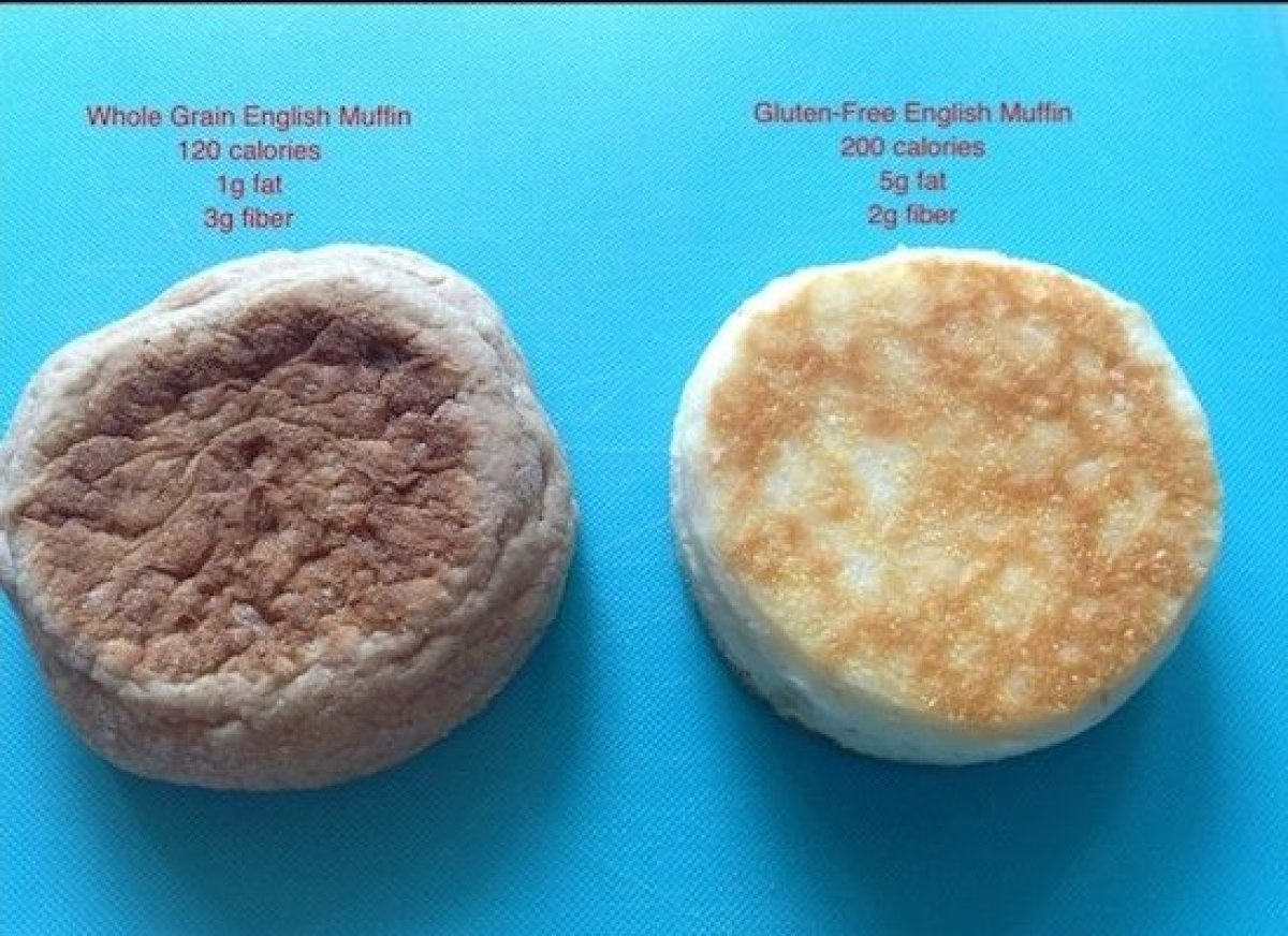 Gluten-free English muffins can have nearly double the calories with five times the fat and less fiber!