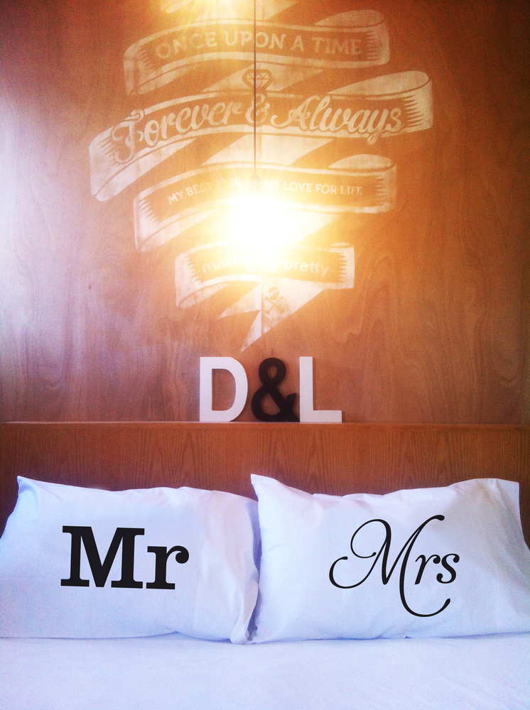 "By <a href=""http://www.etsy.com/listing/90658165/mr-mrs-pillowcase-set"">Dustys and Lulu</a>, $40 for the set"