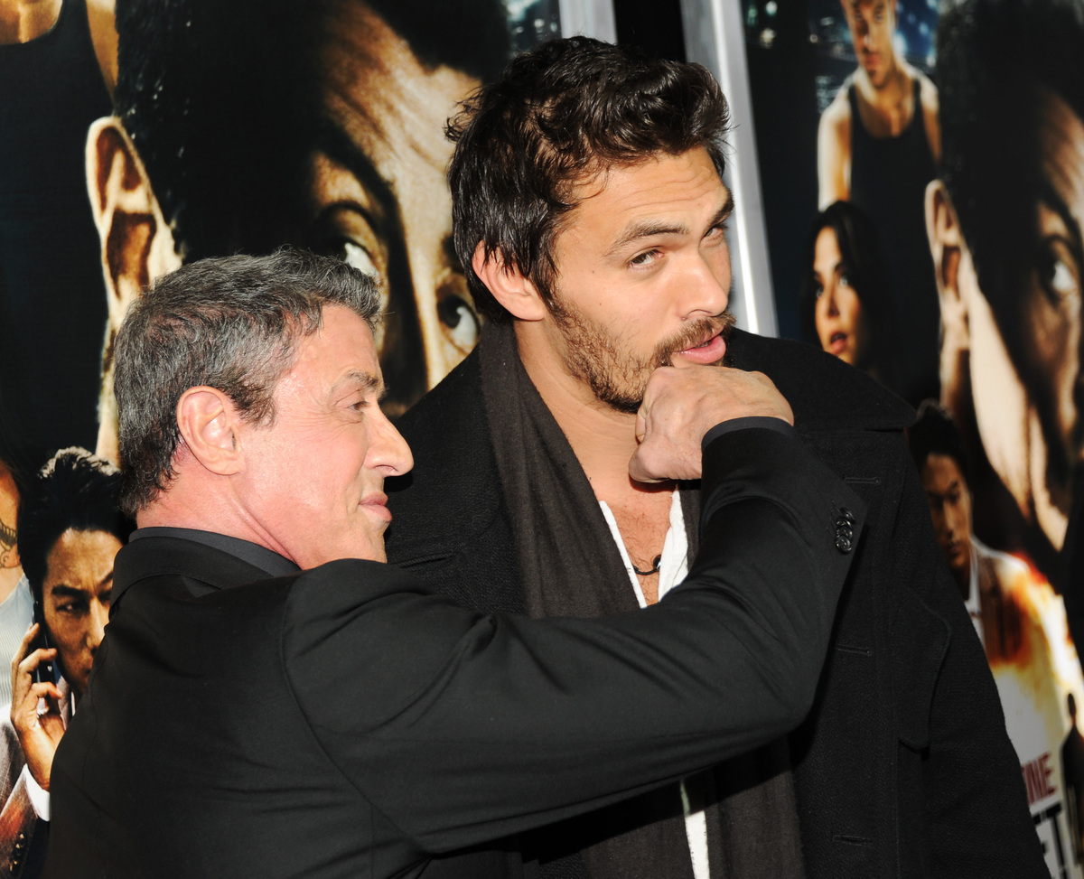 "Actors Sylvester Stallone, left, and Jason Momoa attend the ""Bullet To The Head"" premiere at AMC Lincoln Square on Tuesday, J"