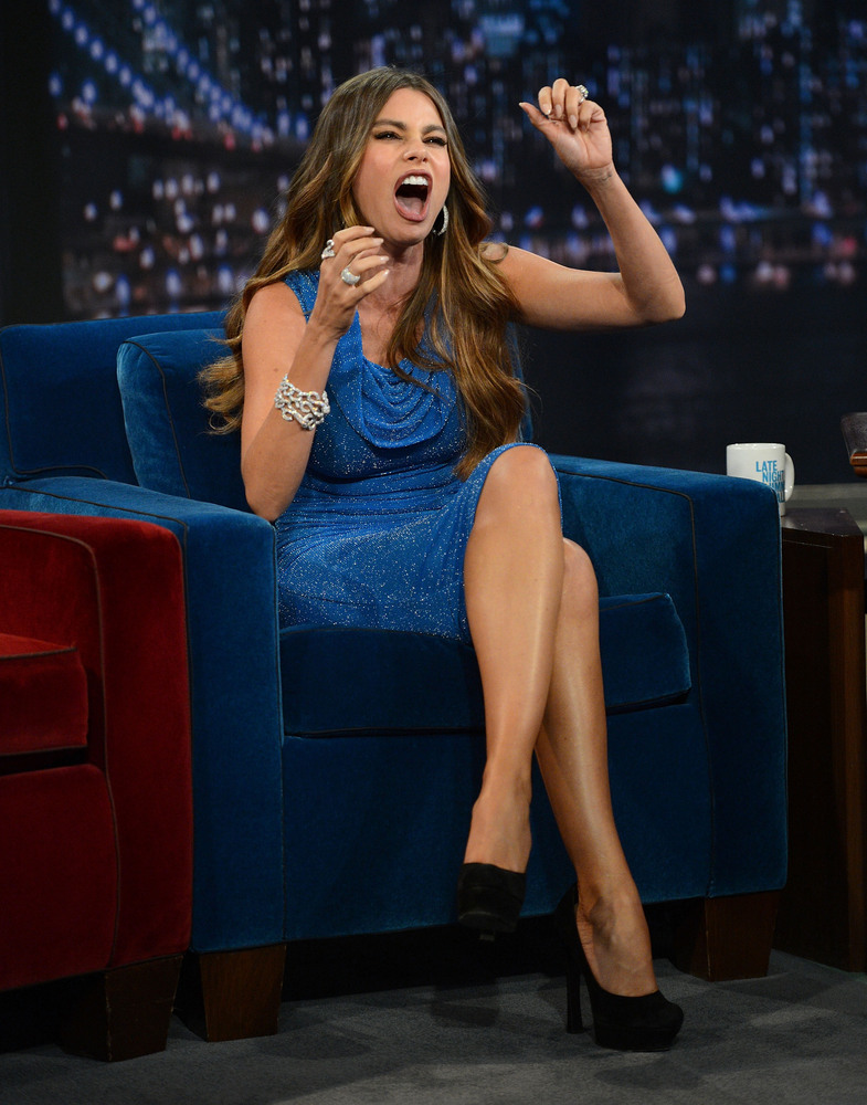 Sofia Vergara tells a story during her visit to 'Late Night With Jimmy Fallon' at Rockefeller Center on September 27, 2012.