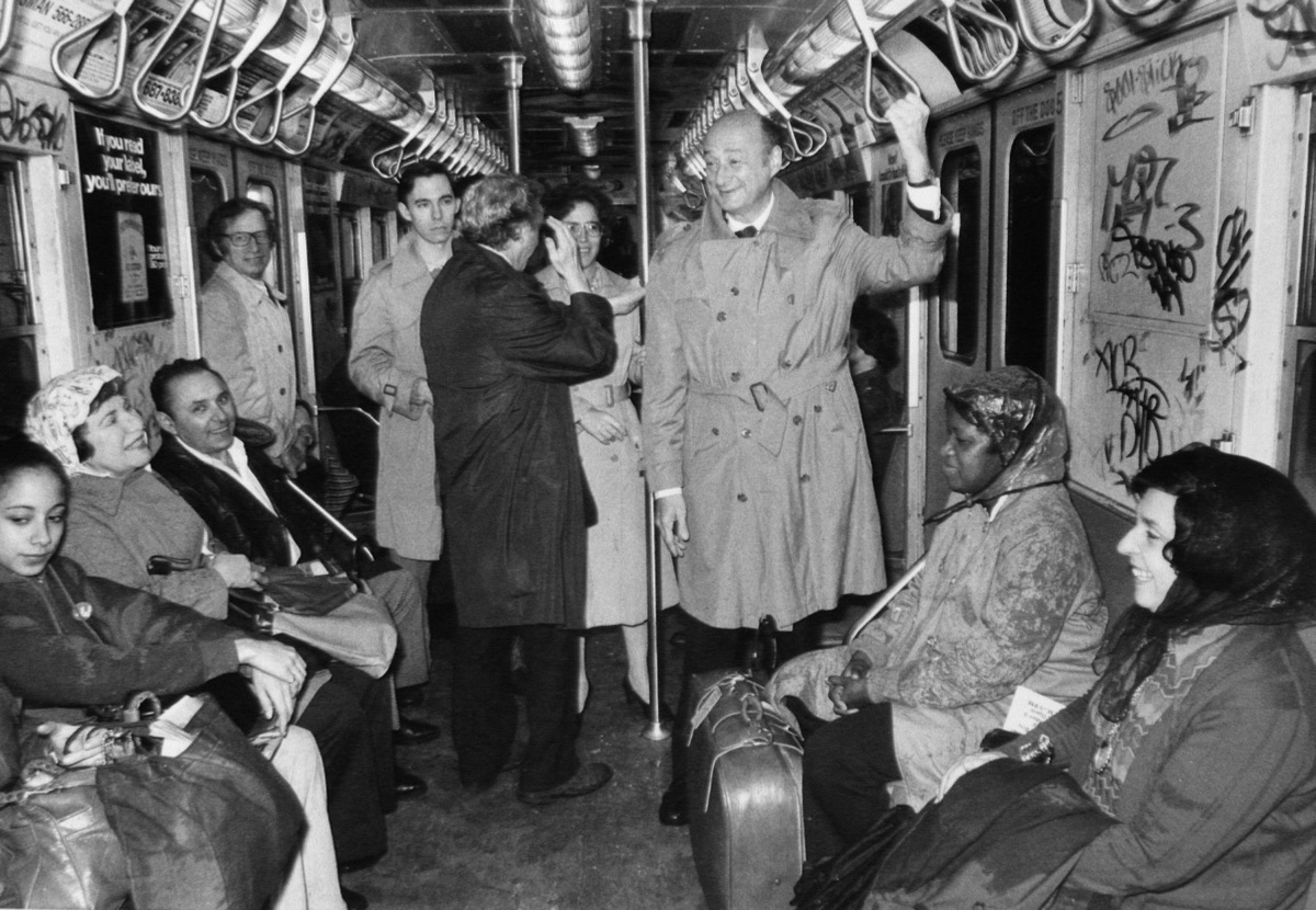 UNITED STATES - JANUARY 02: Mayor Ed Koch rides the subway. (Photo by Harry Hamburg/NY Daily News Archive via Getty Images)