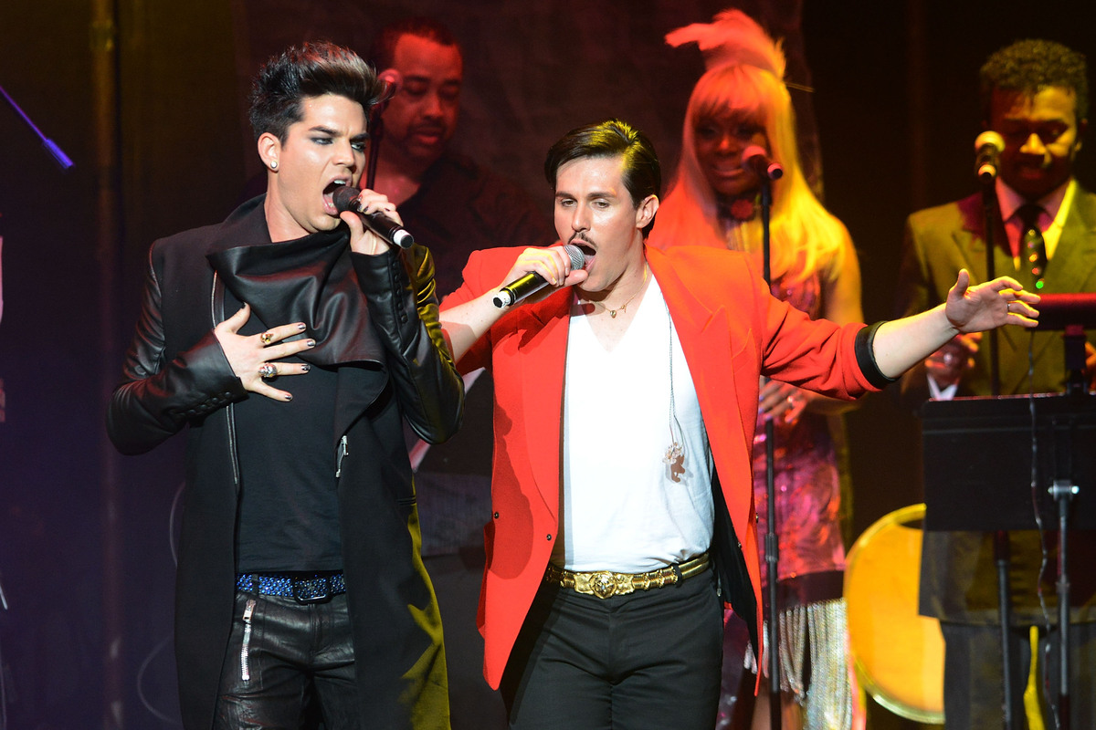 Sam Sparro (R) and Adam Lambert perform at the 2013 We Are Family Foundation Gala at Hammerstein Ballroom on January 31, 2013