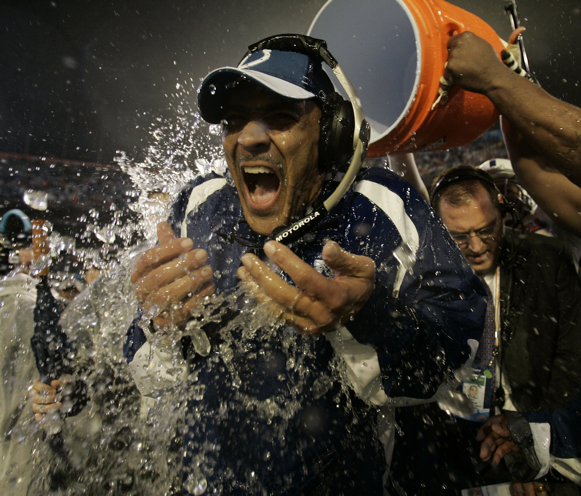 Indianapolis Colts coach Tony Dungy is dunked after the Colts defeated the Chicago Bears 29-17 in the Super Bowl XLI football