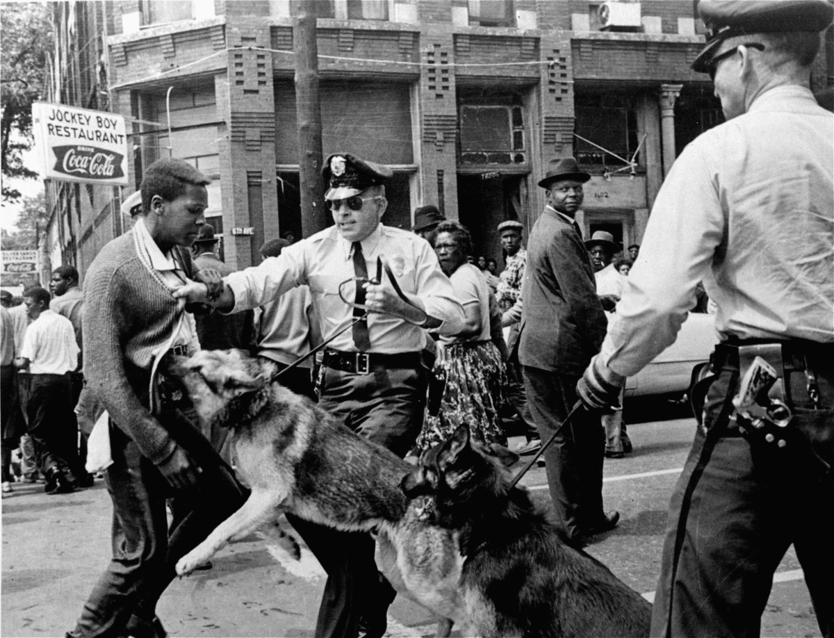In this May 3, 1963 file photo,a 17-year-old civil rights demonstrator, defying an anti-parade ordinance of Birmingham, Ala.,