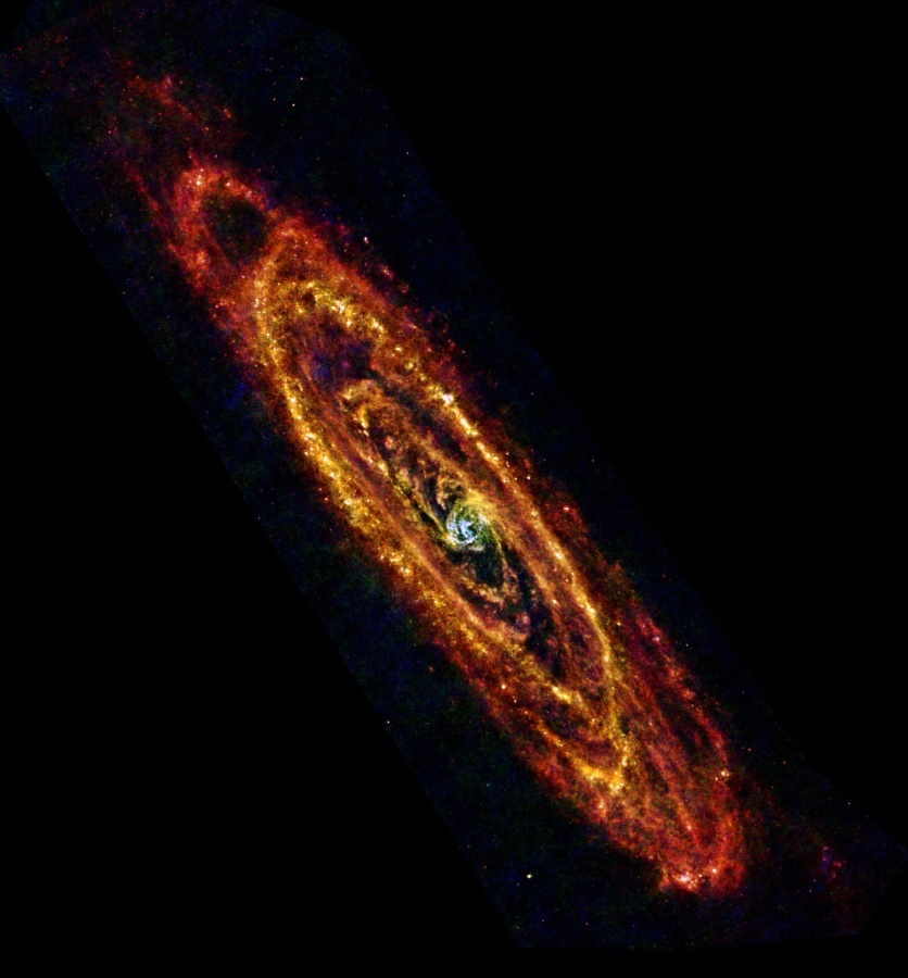 The Andromeda Galaxy, the closest large spiral galaxy to our own Milky Way, is seen here in this image from the Herschel Spac