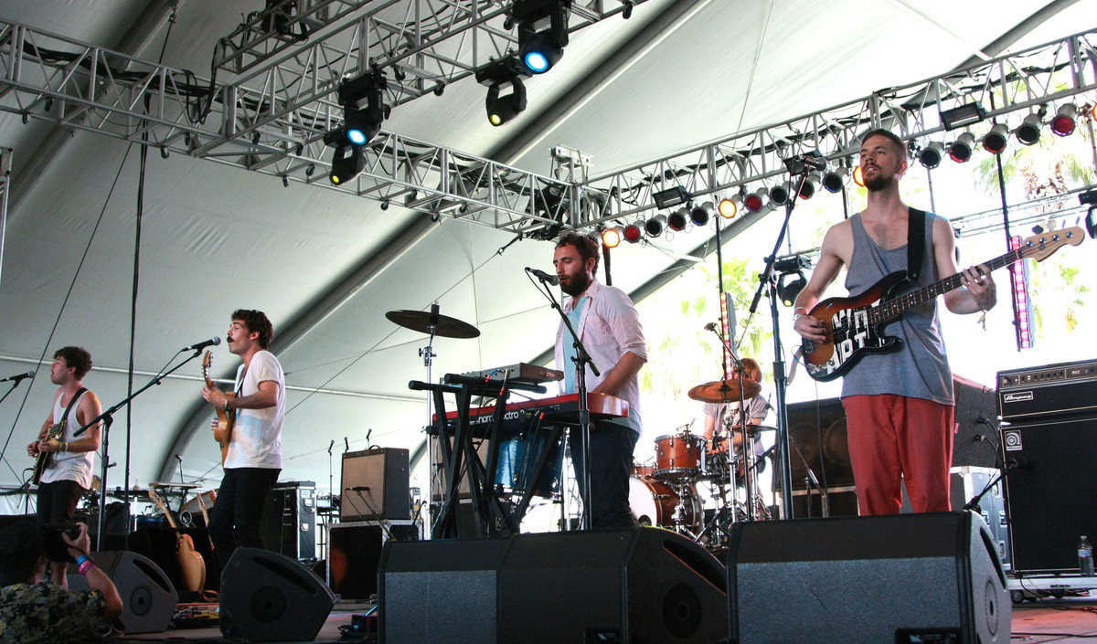 Musicians Ryan Hahn, Taylor Rice, Kelcey Ayer and Andy Hamm of the music group Local Natives performs during day three of the