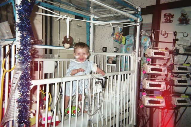 Mitchell in the hospital, waiting for his transplant.  <em>All photos courtesy of Marnie Blakey.</em>