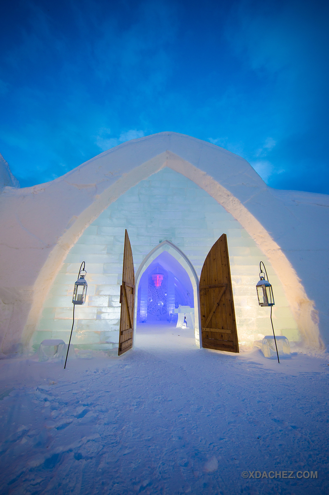 The entrance to Hotel de Glace, a luxury ice hotel in Quebec.