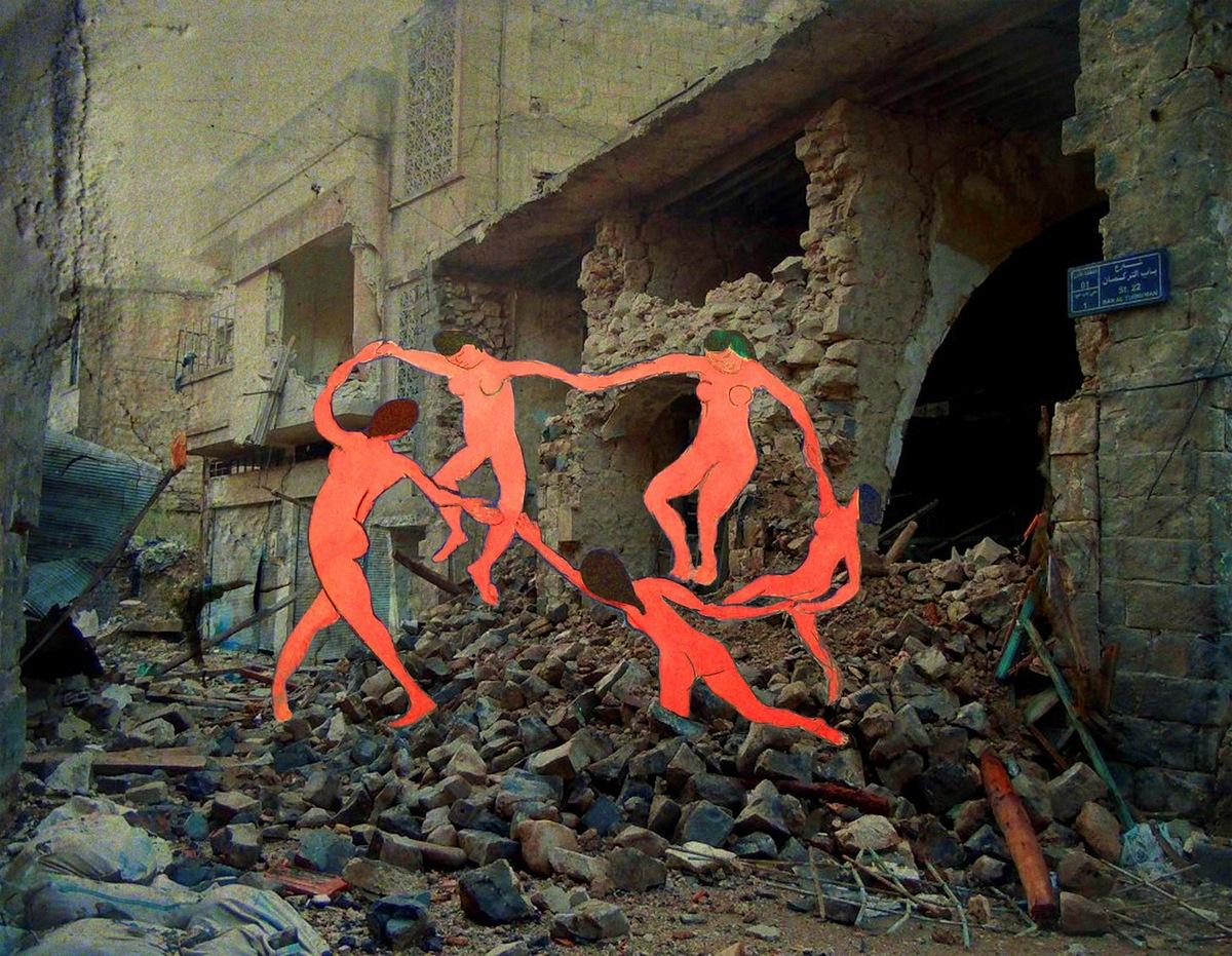 Tammam Azzam, Syrian Museum, Matisse's La Danse, 45X60cm, Archiva print on cotton