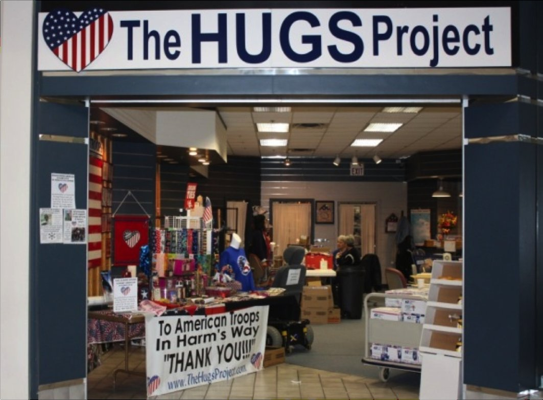 "Mission: Our mission is to give a ""hug"" (handmade item of warmth or cooling depending on season) to every American serving in"