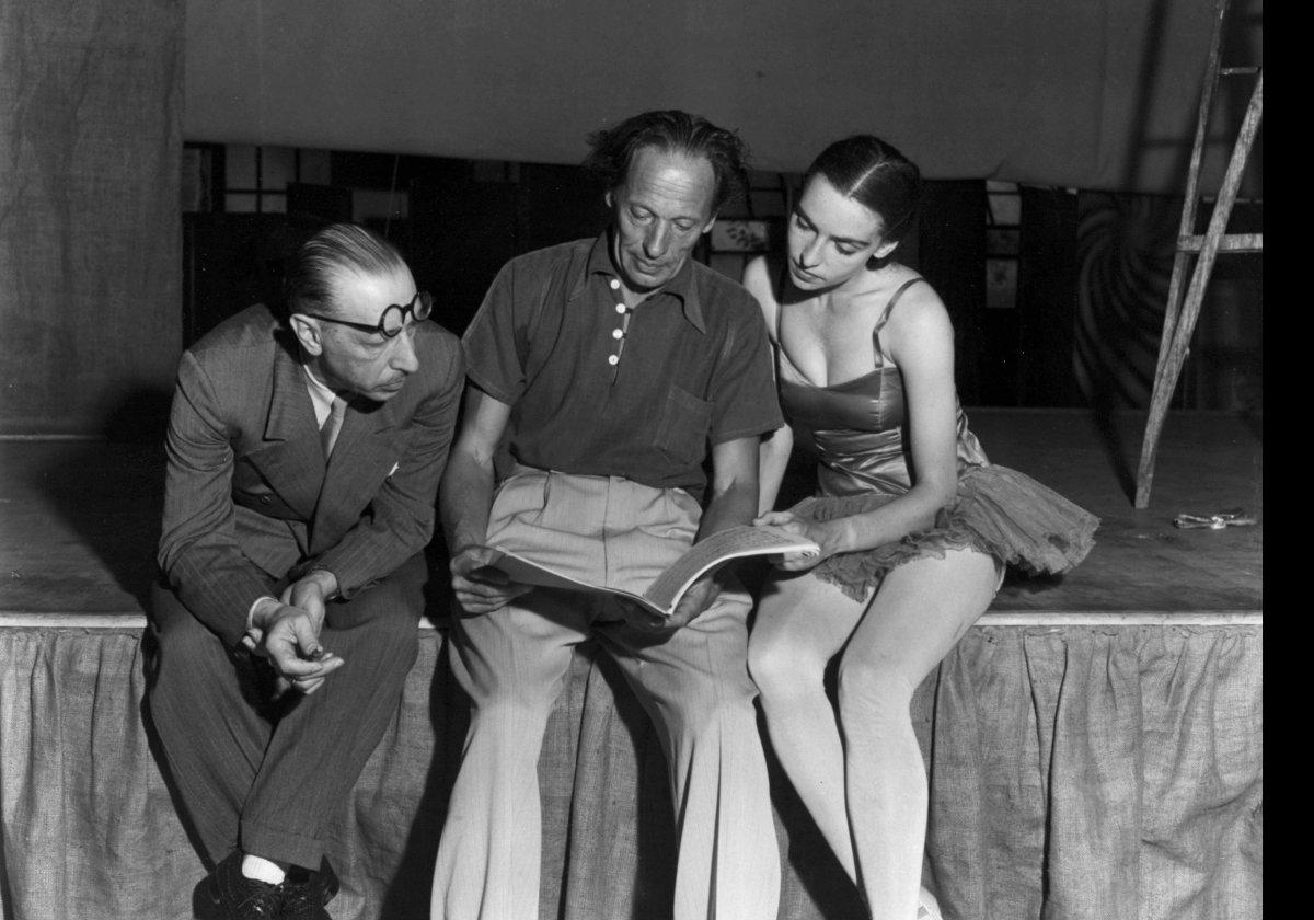 <em>Photograph of Igor Stravinsky, Adolph Bolm, and Nana Gollner rehearsing The Firebird at the Hollywood Bowl, 1940 Photog