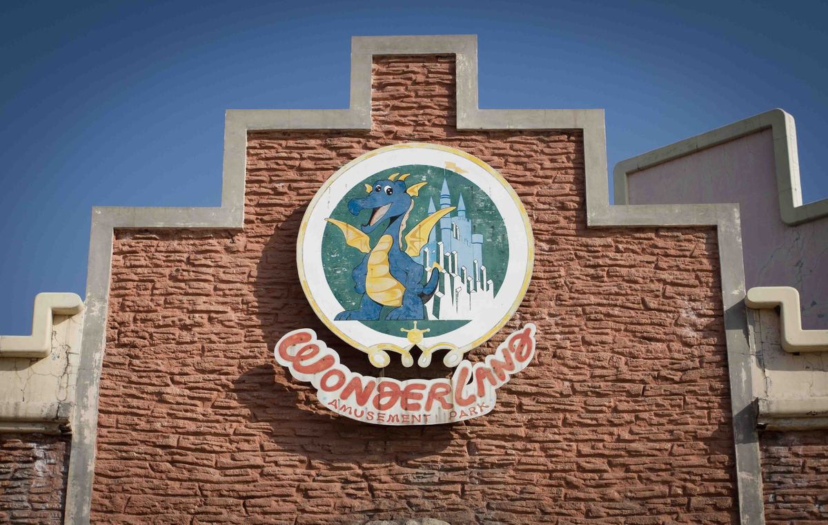 A sign marks the entrance to Wonderland Amusement Park, about 25 miles north of Beijing.