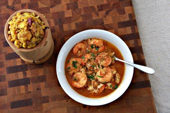 "<strong>Get the <a href=""http://thenoshery.com/2010/10/10/mofongo-con-sopa-de-mariscos-plantain-mash-and-seafood-soup/"">Mofon"