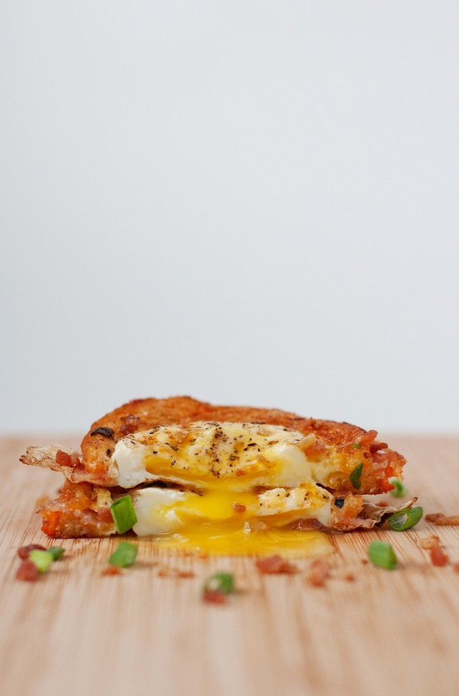 "Get the <a href=""http://bsinthekitchen.com/Egg-In-A-Hole-Breakfast-Grilled-Cheese/"">Egg in a Hole Grilled Cheese recipe from"