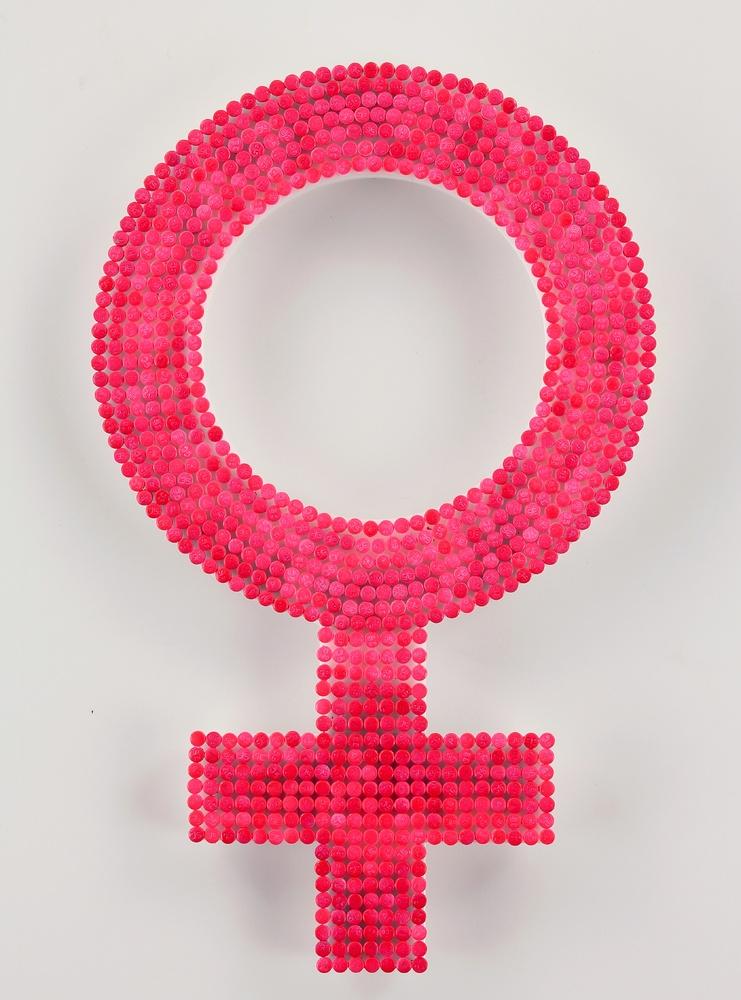 Michele Pred Untitled (Women's Symbol) 2013 birth control pills, enamel and plexi 12 x 7 1/2 x 1/2 inches