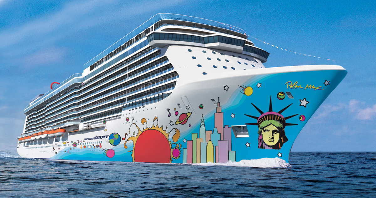 This artist's rendering provided by Norwegian Cruise Line shows the exterior of the Norwegian Breakaway. The ship's hull feat