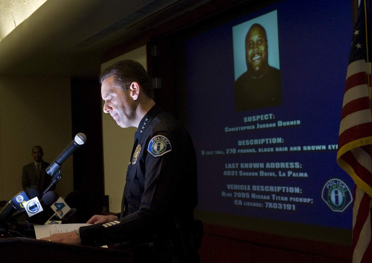 Irvine police Chief David L. Maggard announces at a news conference Wednesday, Feb. 6, 2013, in Irvine, Calif., that former L