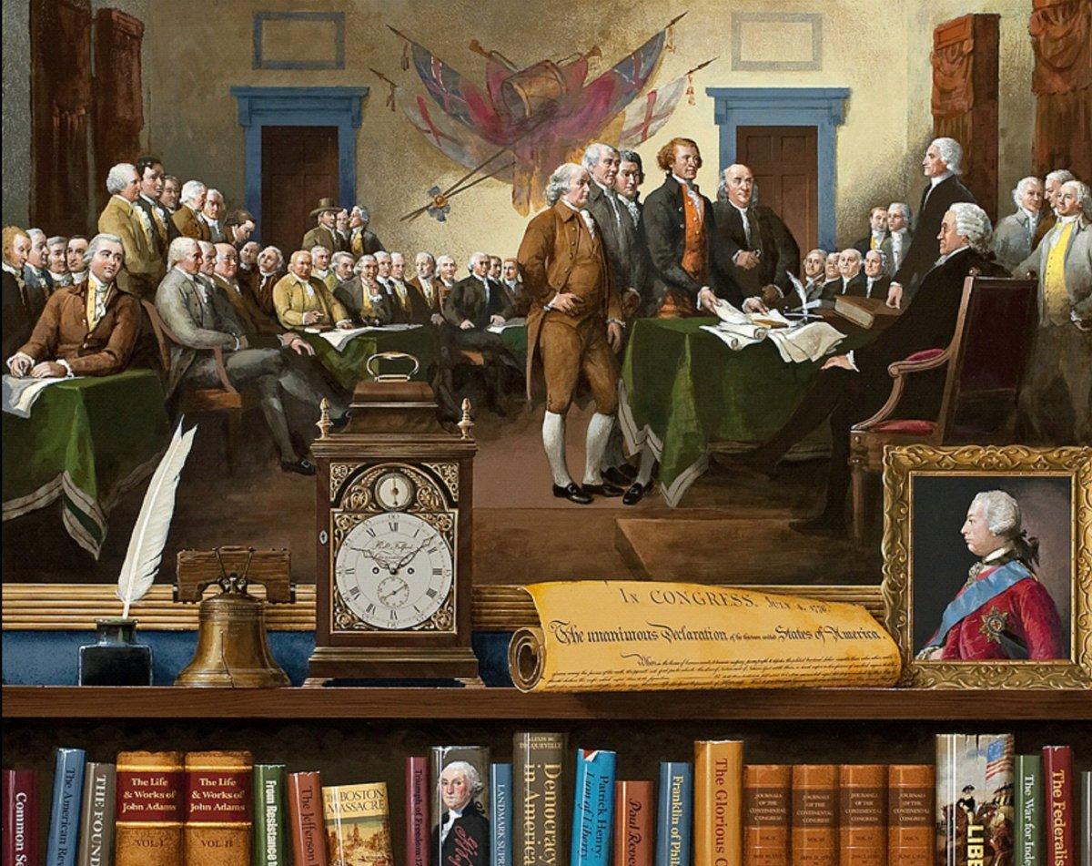 <em>1776 </em> Acrylic on mahogany panel, 24 x 30 in. © 2012 Jenness Cortez Homage to: John Trumbull, <em>The Declaration of
