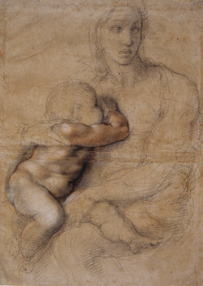 This image provided by the Muscarelle Museum of Art shows a drawing by Renaissance artist Michelangelo of Madonna and Child t