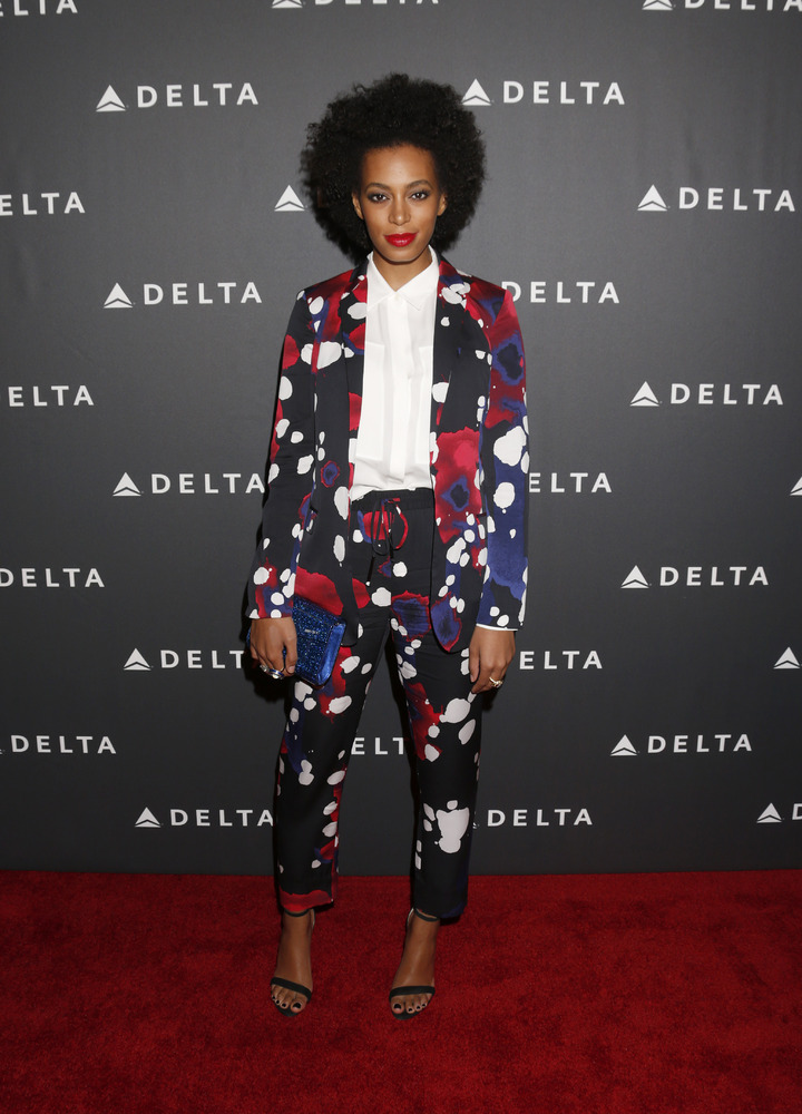 Solange Knowles, wearing DvF and Lia Sophia, attends a Celebration of LA's Music Industry at the Getty House, on Thursday, Fe