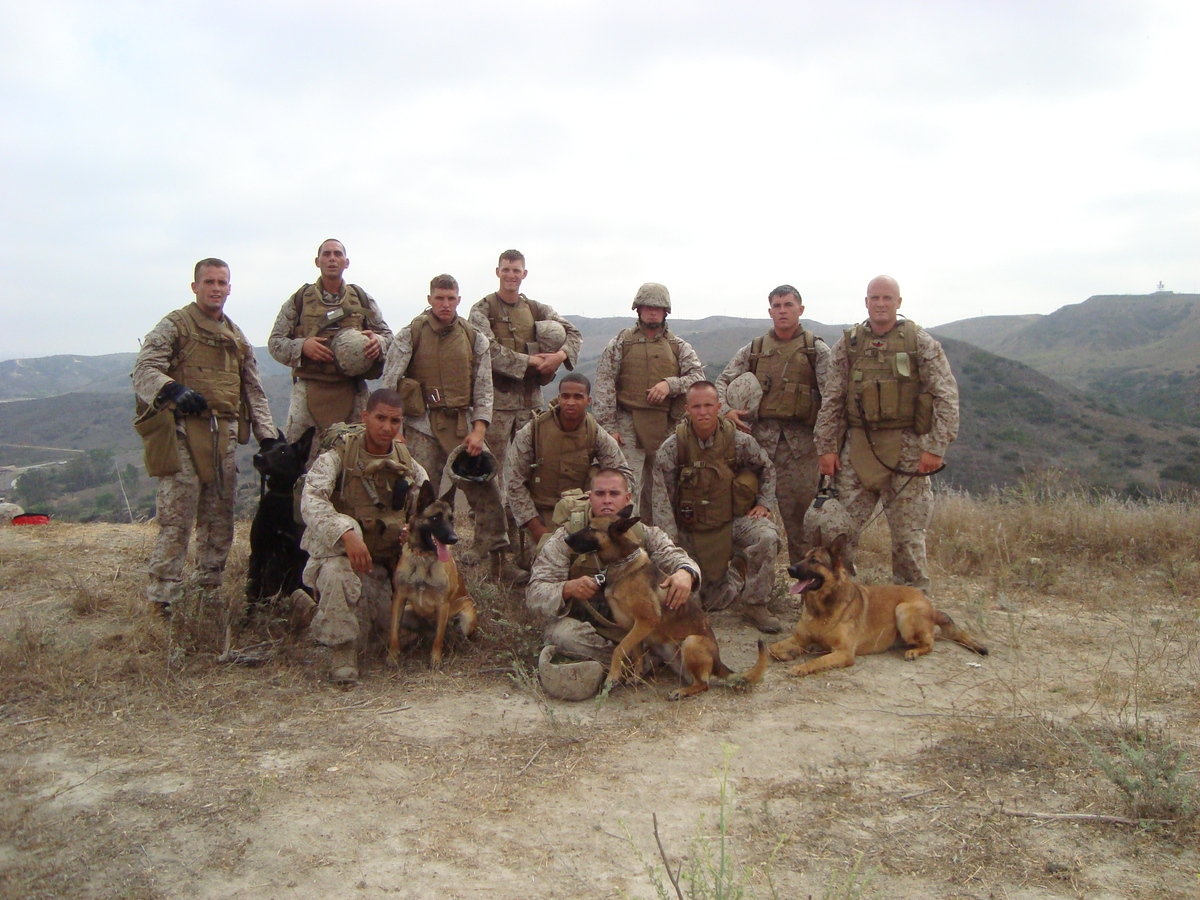 Lucca (far right) at Camp Pendleton in California.