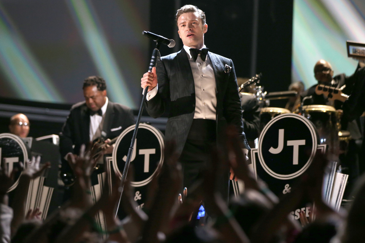 LOS ANGELES, CA - FEBRUARY 10:  Singer Justin Timberlake performs onstage during the 55th Annual GRAMMY Awards at STAPLES Cen