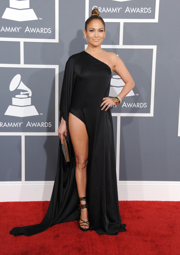 Puerto Rican actress and singer Jennifer Lopez arrives at the 55th annual Grammy Awards on Sunday, Feb. 10, 2013, in Los Ange