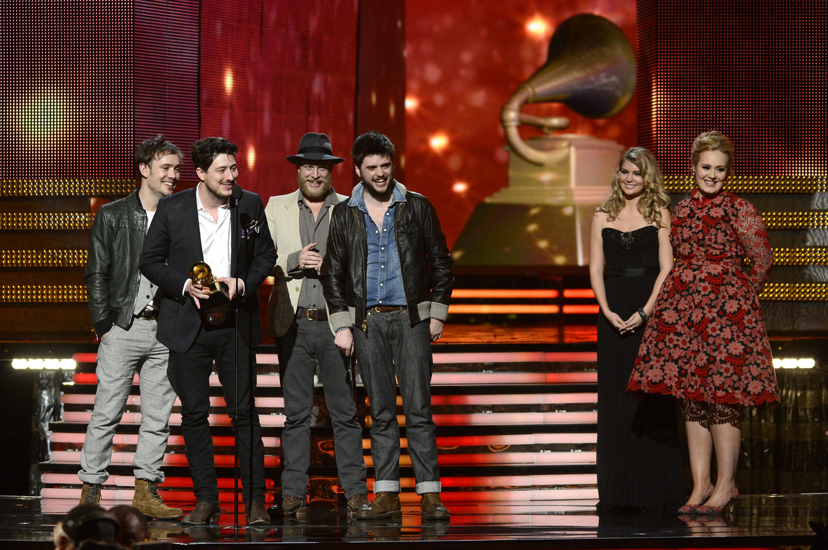 LOS ANGELES, CA - FEBRUARY 10:  (L-R) Musicians Ben Lovett, Marcus Mumford, Ted Dwane and Winston Marshall of Mumford & Sons