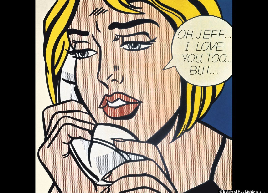 """Roy Lichtenstein, """"Oh, Jeff...I Love You, Too...But..."""" (1964). Oil and Magna on canvas. 121.9 x 121.9 cm (48 x 48 in). © Est"""