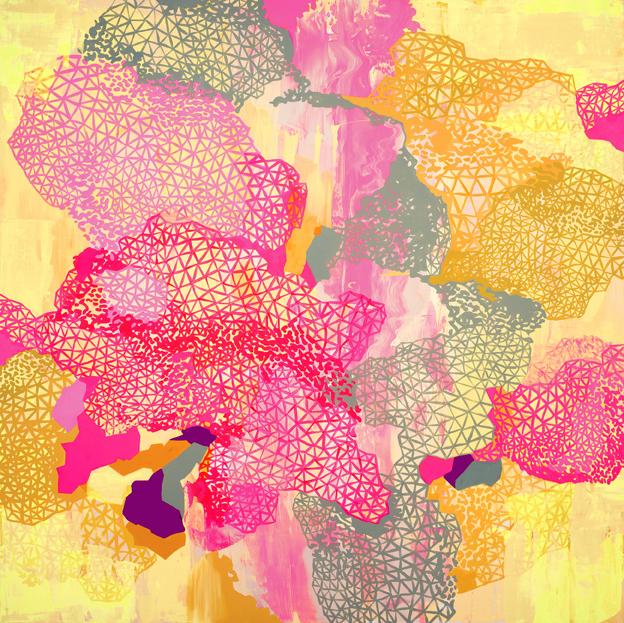 "Rebecca Rutstein, caught in a dream, 2012- 2013, Acrylic on canvas, 60 x 60"""