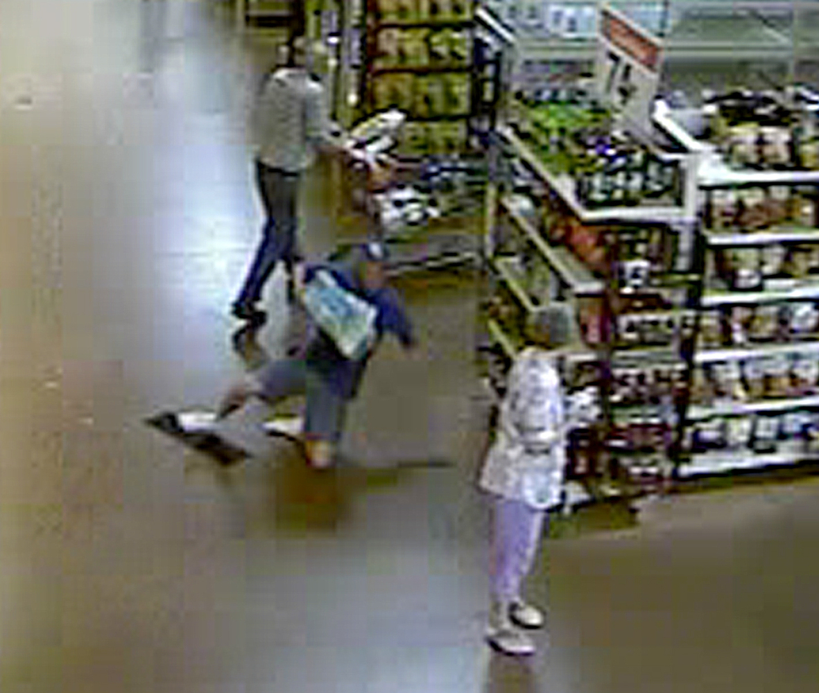 Video surveillance showing Tom Papakalodoukas slipping and falling on a Gatorade sign inside a Wal-Mart in Port St. Lucie, FL