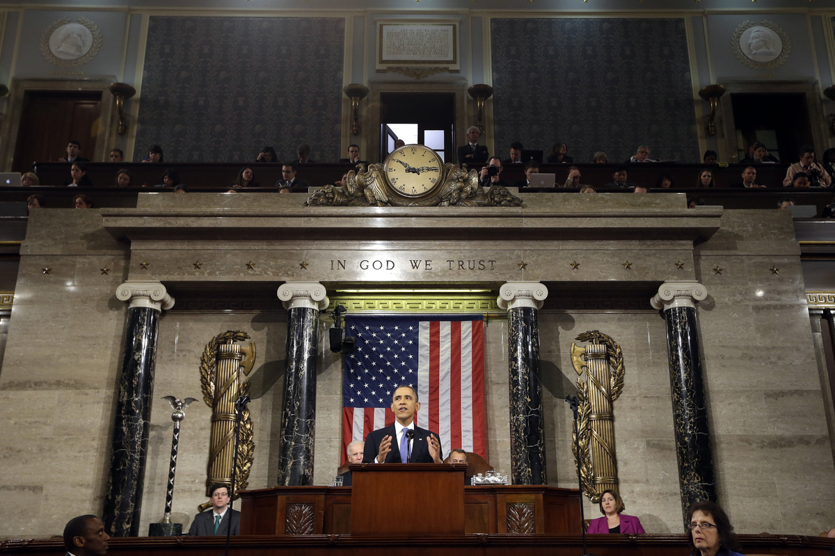 President Barack Obama gives his State of the Union address during a joint session of Congress on Capitol Hill in Washington,