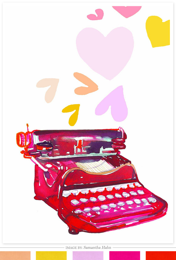 A water colored typewriter with hearts flowing towards it. It's safe to say this beautiful illustration speaks for itself. Fo