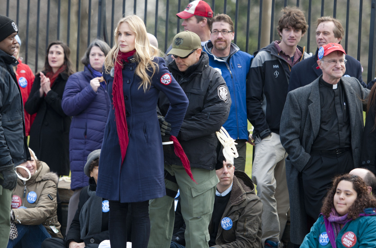 Daryl Hannah is handcuffed and arrested during the Keystone XL Pipeline Protest at Lafayette Park on February 13, 2013 in Was