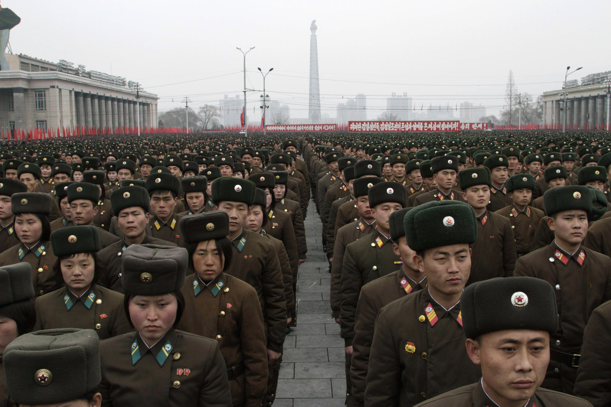 North Korean army officers and soldiers attend a rally at Kim Il Sung Square on Thursday, Feb. 14, 2013, in Pyongyang, North
