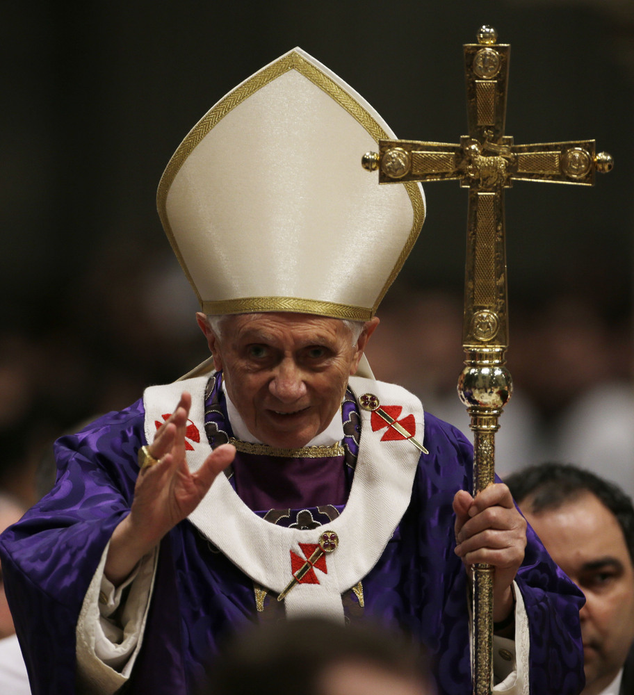 April 19, 2005 – Feb. 28, 2013 (projected)  Photo: Pope Benedict XVI greets the faithful at the end of the Ash Wednesday mass