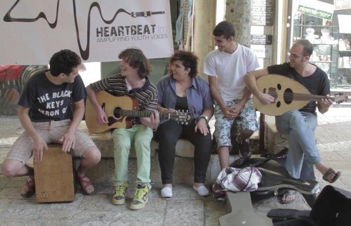 "Performance on Ben Yehuda street. Left to right: Ziv Sobelman-yamin, Guy Gefen, Yasmina Abunassar, ""Moody"" Kablawi and Ami Ya"